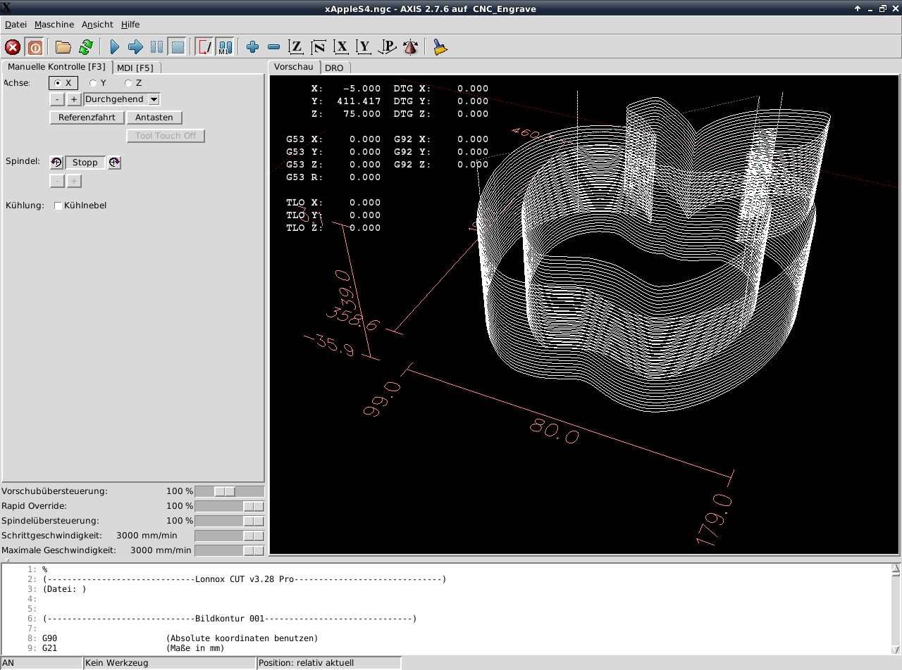 LinuxCNC GUI Axis