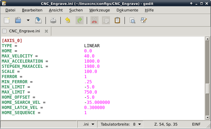 LinuxCNC INI Axes Stepper