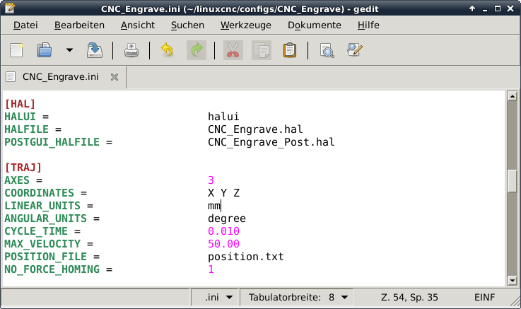 LinuxCNC INI Display